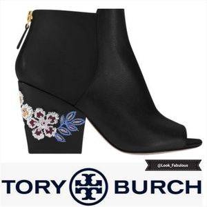 NWT TORY BURCH BLACK EMBROIDERED HEEL BOOTIE